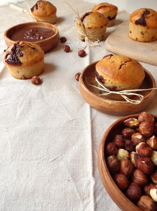 Muffins chocolat et noisettes, comme de la pâte à tartiner