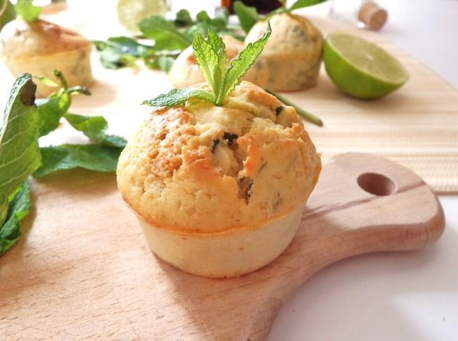 Muffins façon mojito à la menthe, citron vert, rhum vanillé et sucre roux