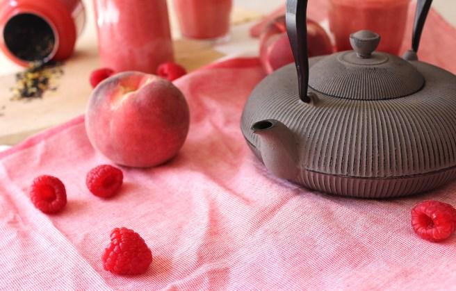 Smoothie framboise & pêche blanche au thé glacé de Madamcadamia
