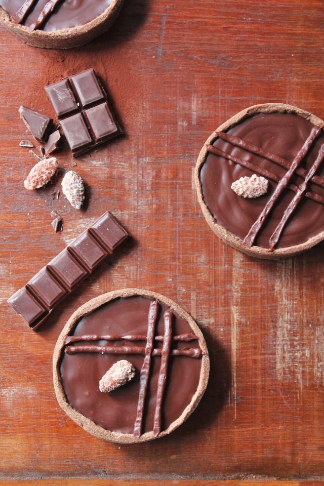 Tartelettes au chocolat et amandes caramélisées