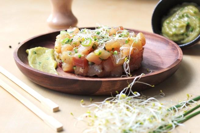 Tartare d'espadon aus saveurs japonisantes et mayonnaise wasabi