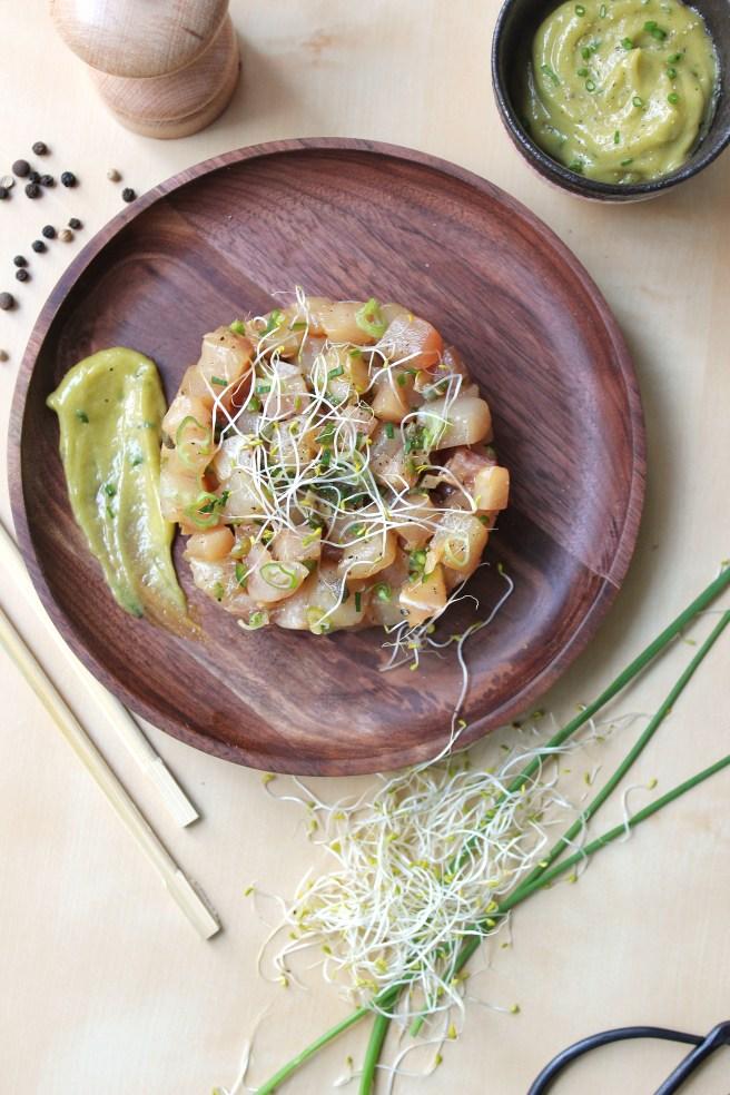 Tartare d'espadon aux saveurs japonisantes et mayonnaise wasabi