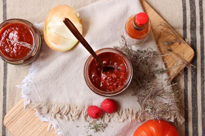 Ketchup de tomates et framboises