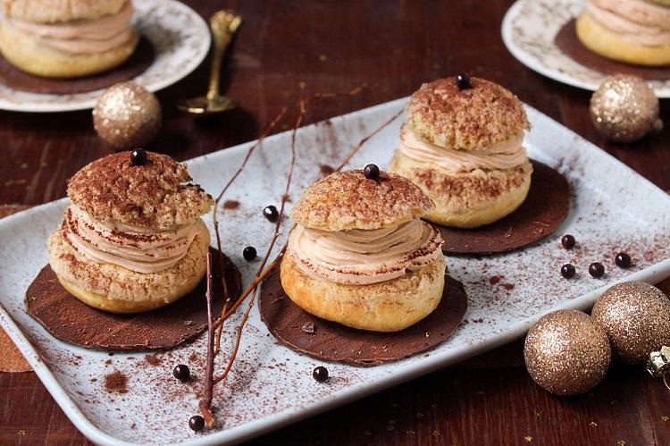 Choux de fête poires & crème mascarpone à la crème de marrons