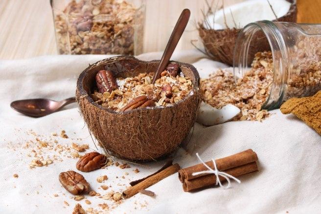 Granola petit déjeuner - Granola à la noix de coco, noix de pécan et cannelle