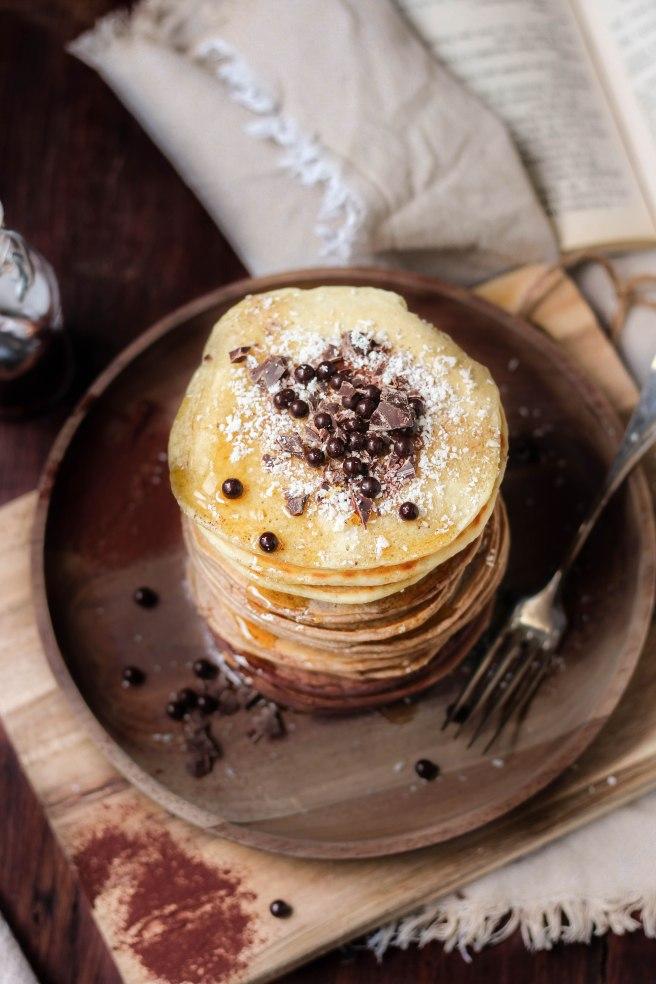 Pancakes ombrés cacao et noix de coco - photography