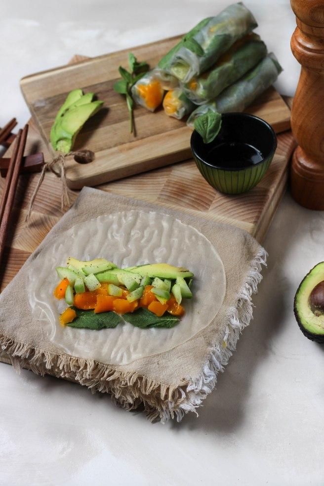 Rouleaux de printemps vegan avocat concombre et mangue - photography