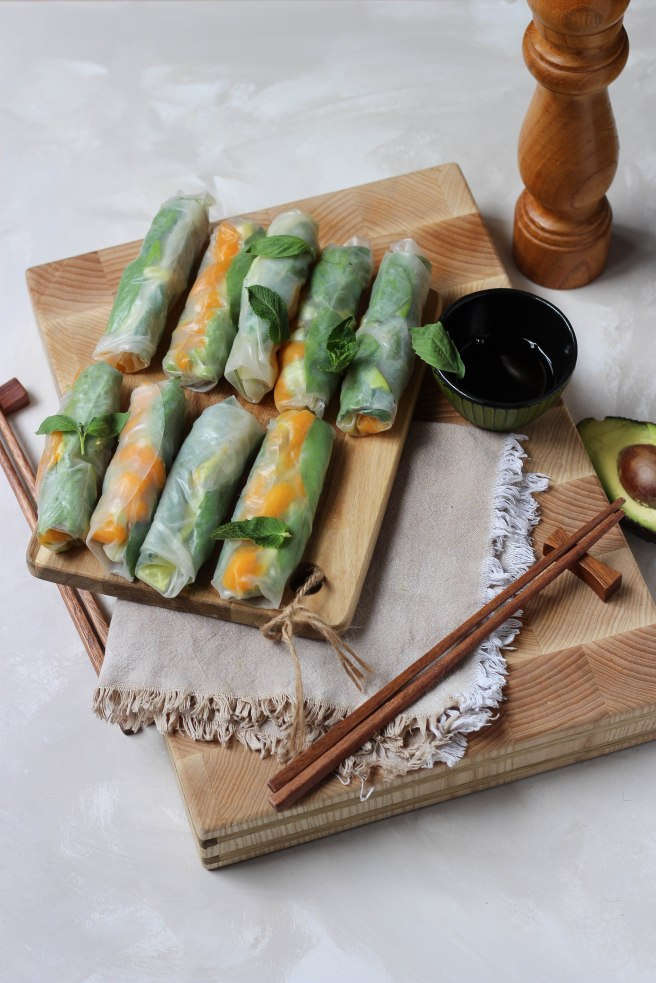 Rouleaux de printemps vegan avocat concombre et mangue - photography