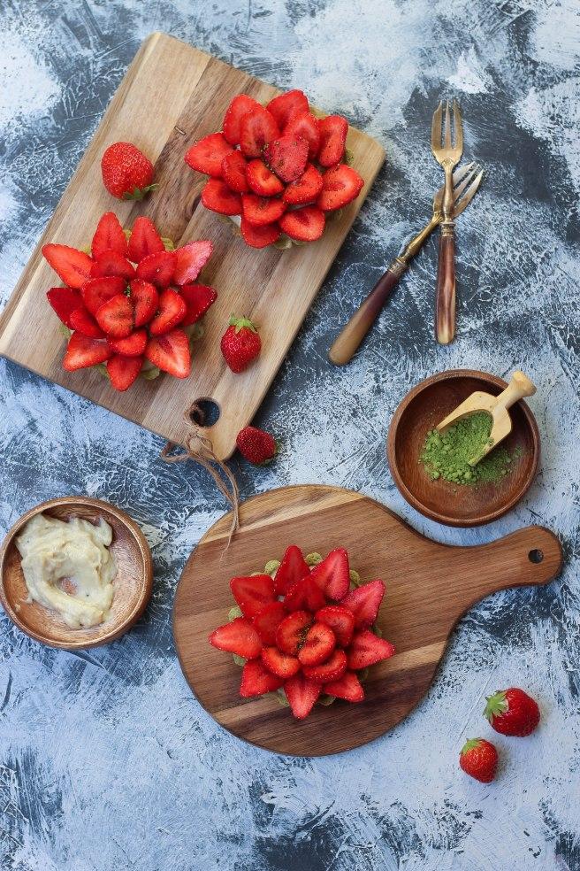 Tartelettes matcha aux fraises - photography