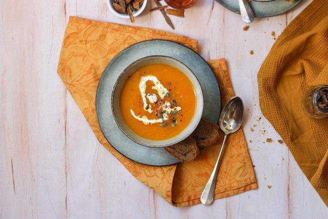 Soupe de courges au miel et épices - photography