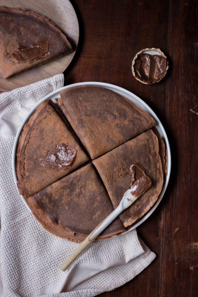 Crêpes au chocolat noir pour la chandeleur - breaksfast photography