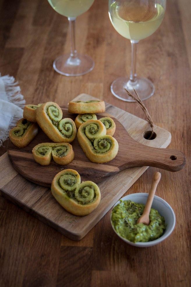 Palmiers sablés au parmesan et pesto pour l'apéritif - photography