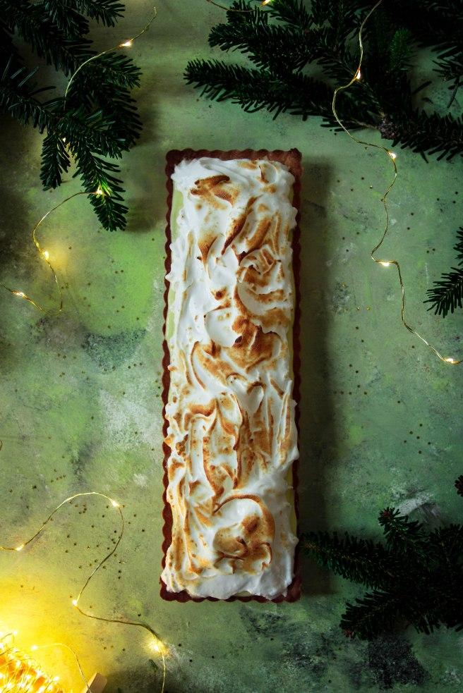Tarte à la bergamote meringuée et aux épices de Noël - Christmas food photography