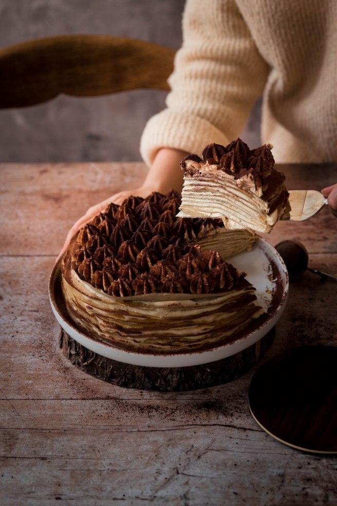 Gâteau de crêpes façon tiramisu à l'amaretto et au café - chandeleur photography