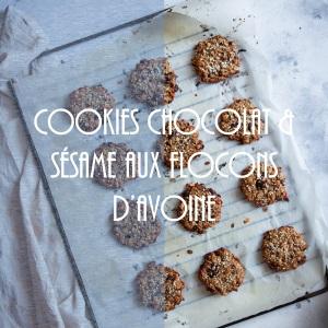 Recette de cookies healthy aux flocons d'avoine, sésame et chocolat