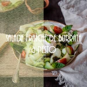 Recette de salade fraîche italienne à la burrata, pesto et légumes du soleil