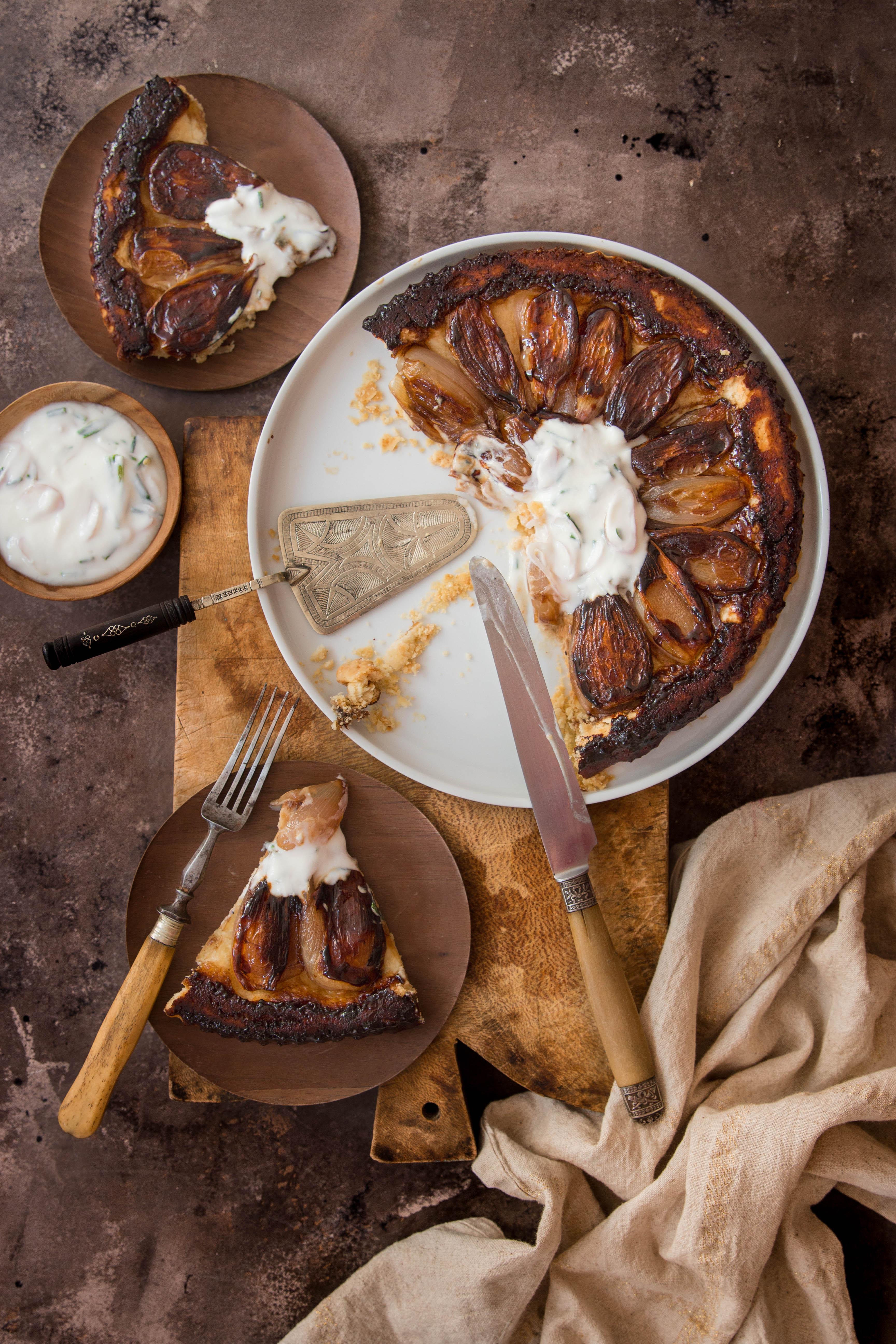 Tarte tatin aux échalotes et caramel balsamique - photography