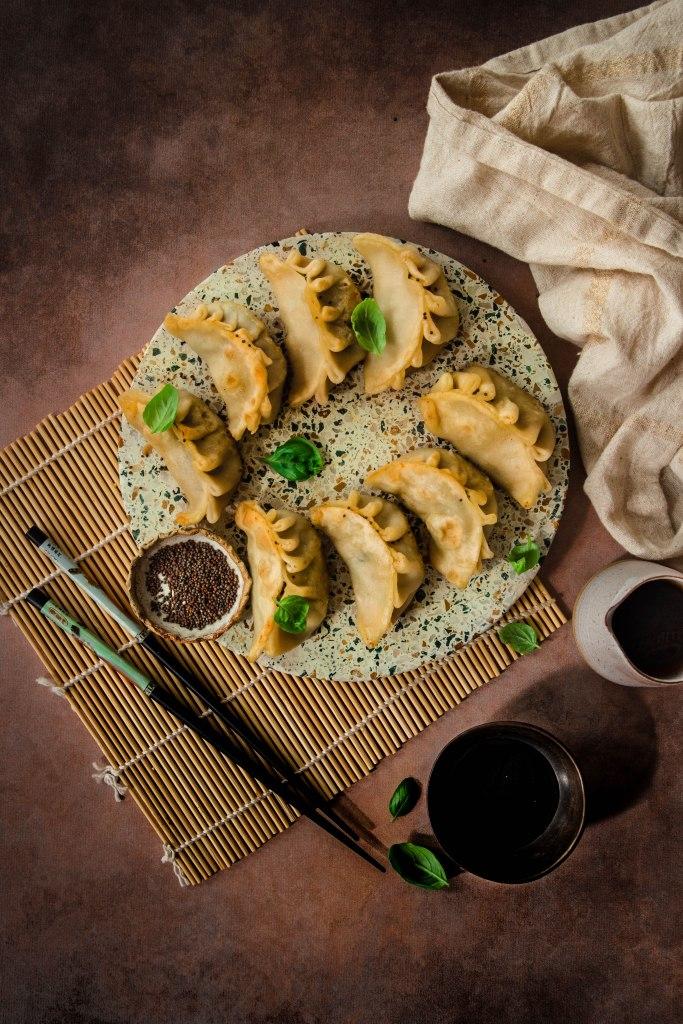 Gyozas végétariens au chou pak choï et bouillon asiatique - photography