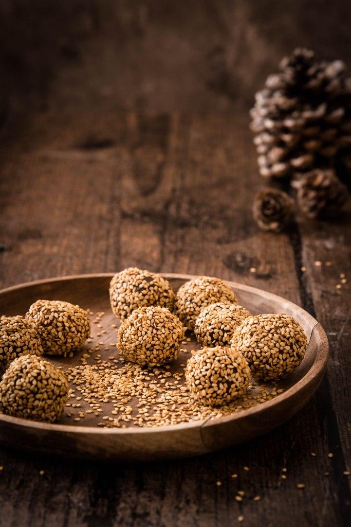Truffes de Noël au chocolat noir et sésame - photography