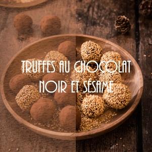 Recette de truffes de Noël au chocolat noir et sésame grillé