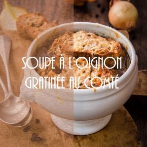 Recette de soupe à l'oignon au vin rouge gratinée au comté