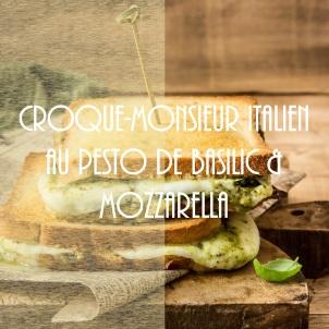 Croque-monsieur italien au pesto de basilic et mozzarella - photography
