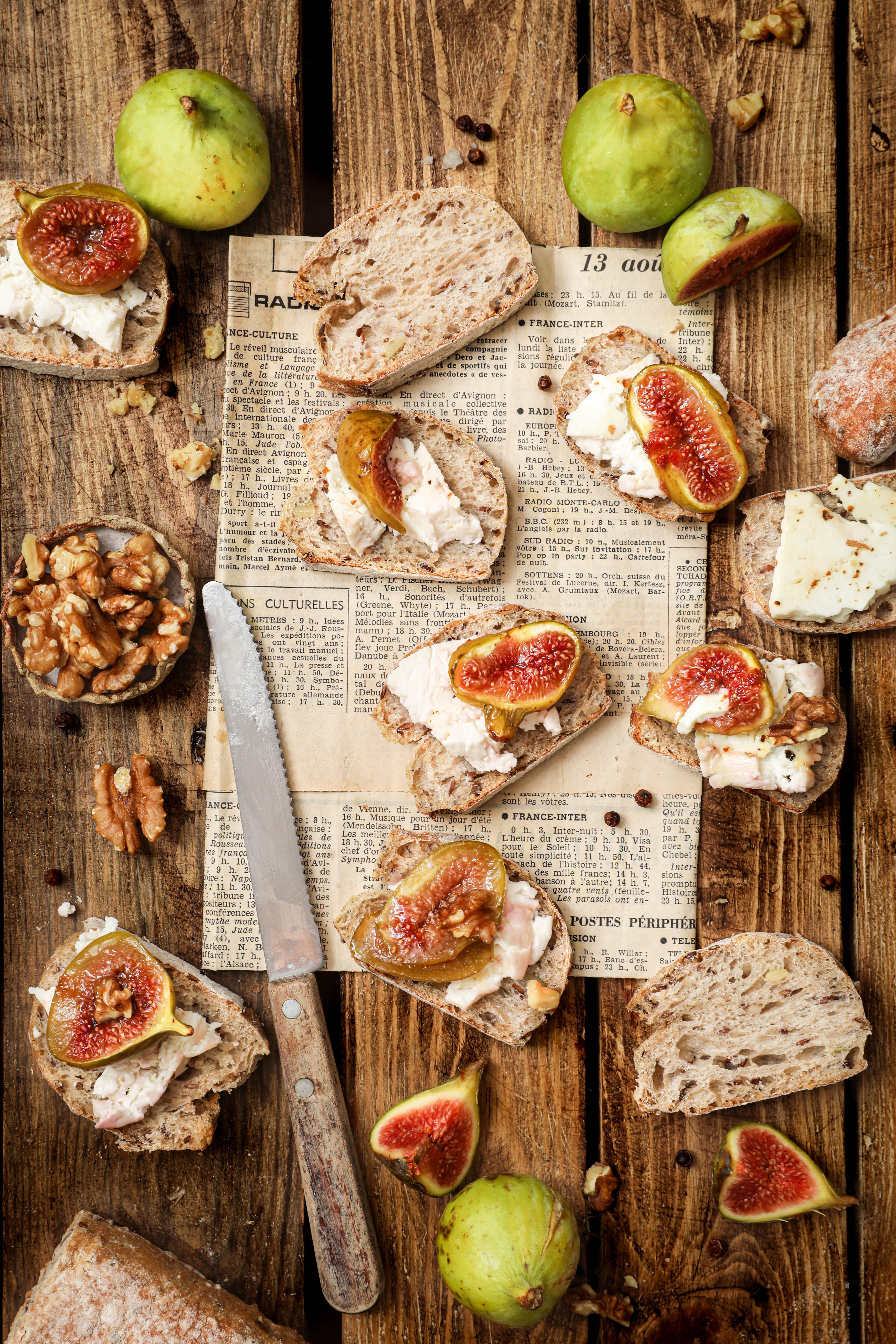 Feta rôtie aux figues, miel et noix - photography